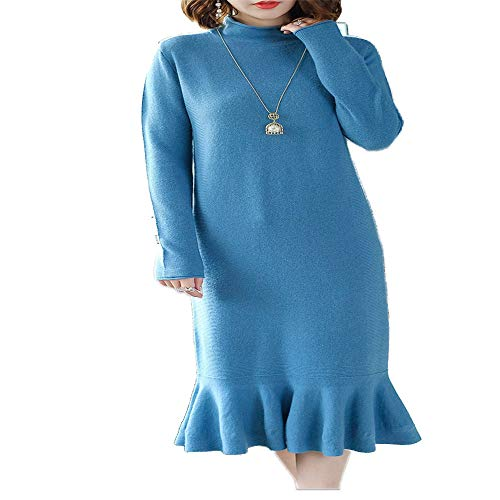 Donna Coda Maniche A Lunghe Shirloy Gonna In Maglione Alla Blu Lunga Abito Pesce Moda Di Lana Aq6x8wHx