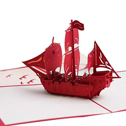 CACT CactusAngui - Tarjeta 3D de felicitación de Navidad con Forma de corazón para Barco o Tarta de cumpleaños, Hecha a...