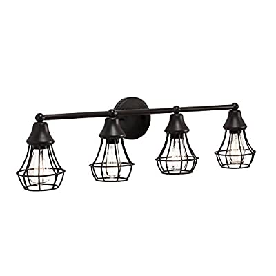 Kichler Lighting 4-Light Bayley Olde Bronze Standard Bathroom Vanity Light - Olde bronze finish bathroom vanity light from the Bayley collection Metal bulb cages add a nostalgic look Includes four 60-watt vintage-style starter bulbs - bathroom-lights, bathroom-fixtures-hardware, bathroom - 41Q9%2B WTivL. SS400  -