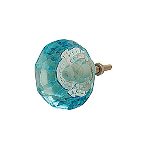 Bombay Duck SBG145TX 3.5 cm Small Faceted Glass Door Knob - Duck Egg (6 Units) - Small Egg Knob