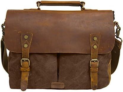 ECOSUSI Unisex Vintage Canvas Leather 14 Laptop Messenger Bags Travelling Shoulder Bag Satchel Bag Coffee