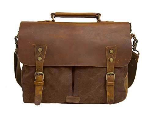 "ECOSUSI Unisex Vintage Canvas Leather 14"" Laptop Messenger Bags Travelling Shoulder Bag Satchel Bag Coffee"