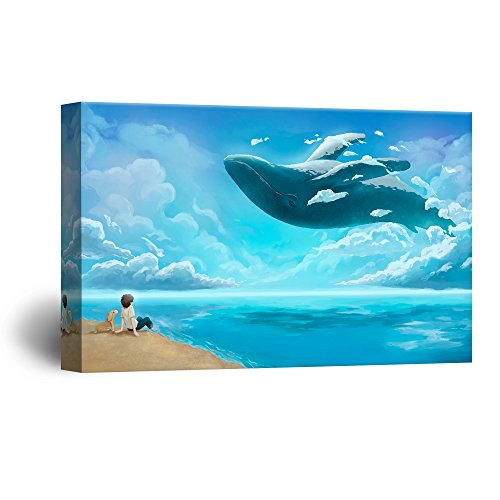 Hand Drawing Style Mystical Boy and Dog on the Beach Watching a Dancing Whale Gallery