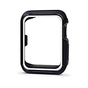 Palestrapro Apple Watch Case 42mm, Rugged Scratch Resistant Protector iWatch Case for Apple Watch Series 3 / Series 2 / Series 1 (Black/White, 38mm)