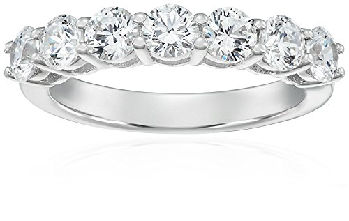 Platinum-Plated Sterling Silver 7-Stone Ring made with Swarovski Zirconia (2 cttw), Size 9