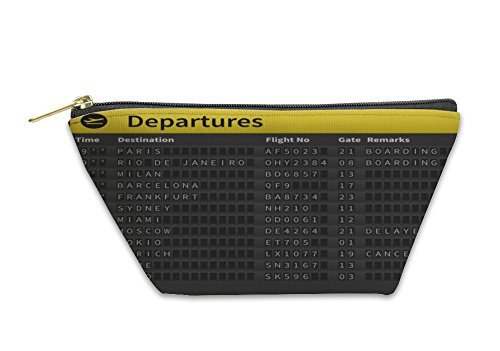 Gear New Accessory Zipper Pouch, Airport Timetable Showing Departure Destinations, Small, - Adelaide Shops Airport In