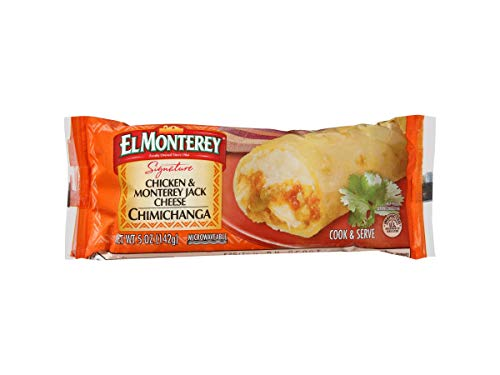 El Monterey All Natural Chicken and Monterey Jack Cheese Chimichanga, 0.312 Pound -- 24 per case. (El Monterey Chicken Rice & Beans Burritos)