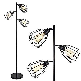 LEONLITE 65inch Track Tree Floor Lamp, 3 Bulbs Included, Industrial Floor Lamps, Rustic 3-Head Torchiere Lamp Fixture