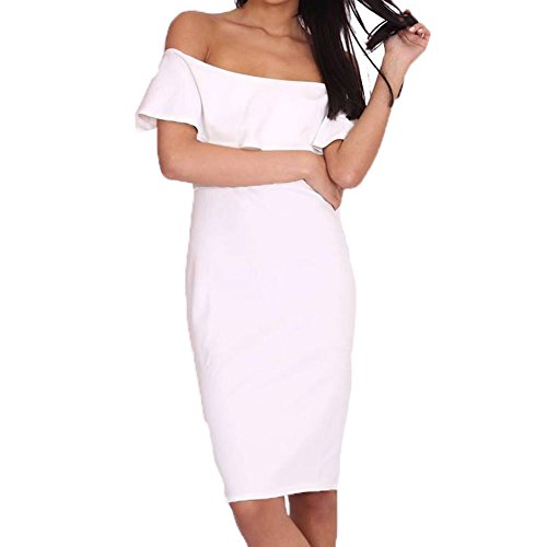 White fitted bodycon off shoulder bardot dress