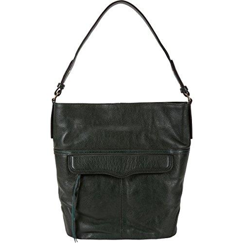 Rebecca Minkoff Jasper Hobo Leather Bucket Bag, Hunter Green