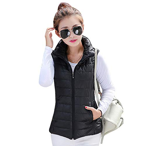 Down Womens Collar Stand XFentech Sleeveless Gilet Black Zip Up Coat Vest Jacket Vest Warmers Jacket Body T5wdwxvH