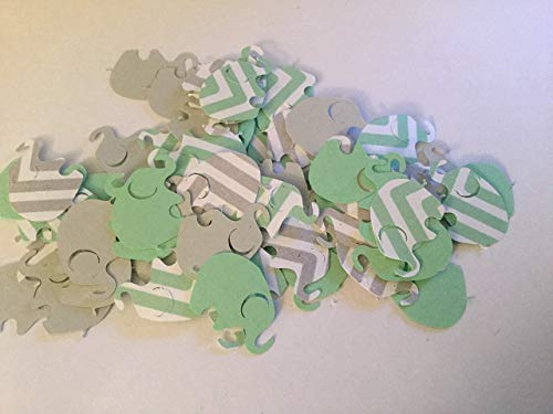 100 Elephant Baby Shower Mint Green Chevron Elephant Mint Gray Elephant Confetti Elephant Cut Out Elephant Theme Baby Shower Mint Elephant Gender Neutral Baby -