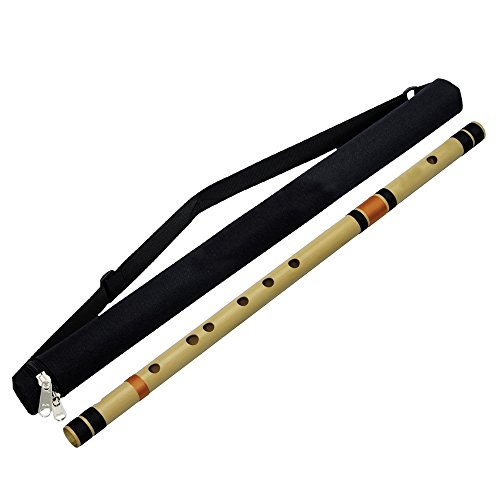Professional Base Bamboo Flute (A Tune) Transverse Bansuri Woodwind Indian Musical Instrument 23 Inches