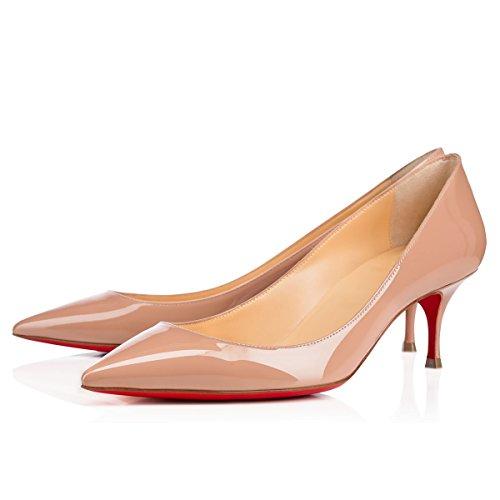 Caitlin Pan Femmes Escarpins Bout Pointu 65MM Talon de Chaton Cuir Verni Robe Fête Travail Chaussures Nude/Semelle Rouge 2rzAx0Exb