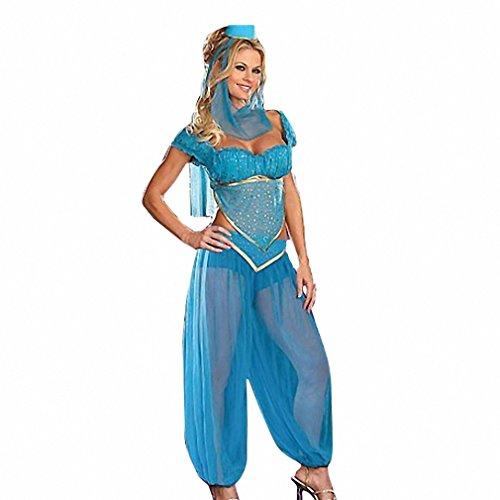 Plus Size Xl Sexy Princess Jasmine Costume Adults Women Belly Dance Performance Arab Costume Carnival Halloween Costumes Blue Princess (Princess Jasmine Costume Adults Plus Size)