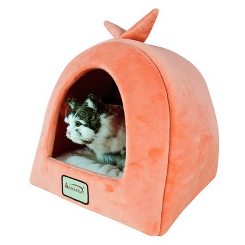 Armarkat Plush And Soft Velvet W/ Waterproof Cat Sleeper Bed In Orange And Ivory