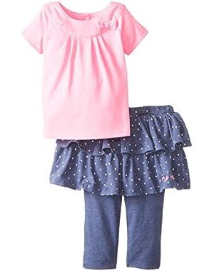 Baby Girls' Pink Top with Denim-Tone Skegging