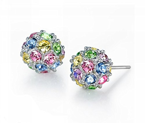Beautiful Crafted Multicolored Unique Ball Shaped 18k White/rose Gold Plated Swarovski Crystal Zircon Austria Rhinestone Earrings Pierced Eardrop Stud Bridal Wedding Engagement Jewelry (Swarovski Pierced Earrings)