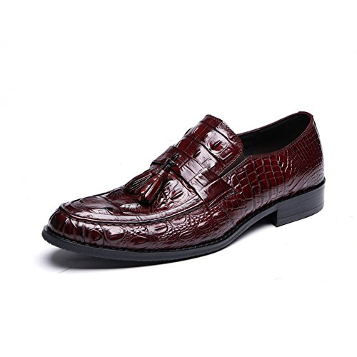 Santimon Mens Genuine PU Crocodile Leather Derby Shoes Oxford Shoes wine-red