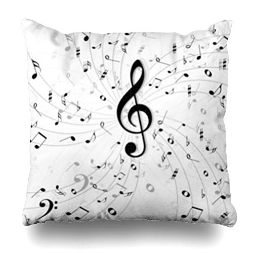 Chords Signatures Key (Decor.Gifts Throw Pillow Covers Group Treble Music Clef Abstract Bass Black Chord Classic Quarter White Musical Notes Sheet Cross Key Cushion Case Square Size 16 x 16 Inches Home Decor Pillowcase)