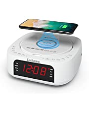 Lukasa Bluetooth CD Player Tabletop Stereo Clock Wireless Charger,Home Digital FM Radio Boombox Dual Alarm Clock Top-Loading Disc Mp3 Players USB AUX Sleep Timer (White)