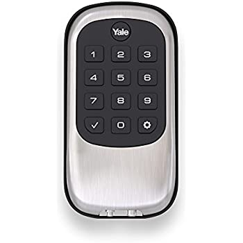 Yale Real Living B1L Lock - Key Free Push Button Deadbolt; Satin Nickel (YRD110-NR-619)