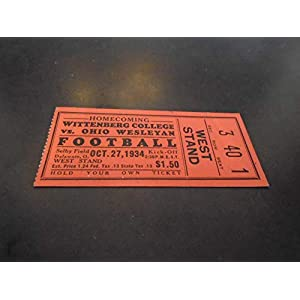 1934 WITTENBERG AT OHIO WESLEYAN COLLEGE FOOTBALL TICKET STUB NEAR MINT