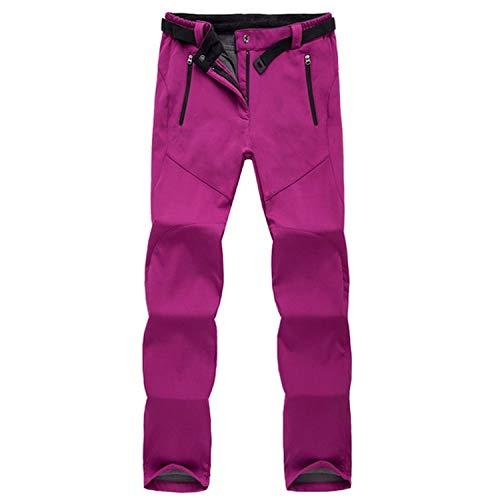 Women's Winter Pants Women Warm Fleece Lining Thick Trousers Stretch Windproof Waterproof Female Work Casual Pants AW195,Wine,M