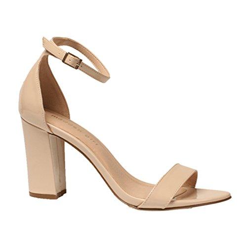 f2c455c47336c Madden Girl Women's BEELLA Heeled Sandal, Nude Patent, 8.5 M US