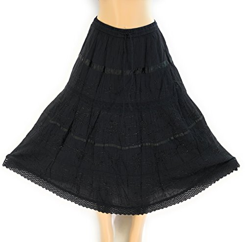 (Nu Deals Embroidered & Embellished Peasant Sweep Skirts with Hippie Boho Lace Trim)