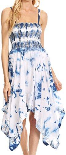 (Sakkas 172055 - Naira Tie Dye Smocked Bodice Hi-Low Handkerchief Hem Dress - Navy/White - OS)