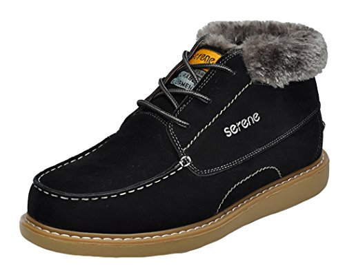 Serene Christmas Mens Suede Faux Fur Lining Fashion Sneakers(9.5 D(M)US, Black)