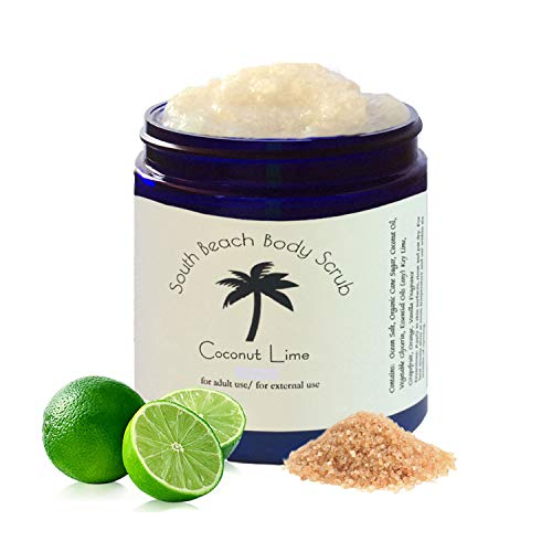 Scented Accented South Beach Body Scrub Coconut Lime Infused Essential Oil Fresh-Made Blended Body Scrub, Body Polish, Vegan Cruelty-Free Gentle Skin-Cell Exfoliating for Women and Men