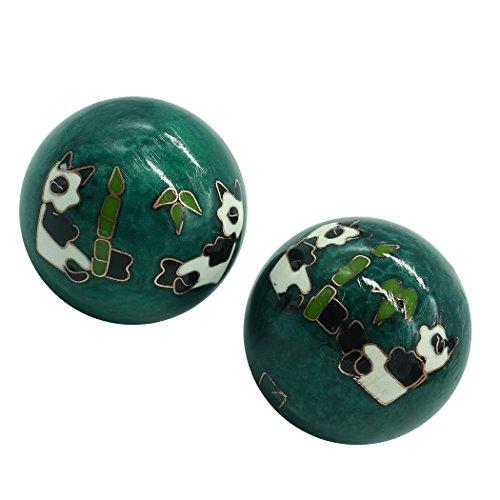 [해외]풍수 용품 건강 공 헬스 공 뇌 활성 스트레스 트레이닝 기구 손 기능 회복 2 개 판다 (35mm) INB168 / Feng Shui goods Health ball kenkin ball brain activity Stress training instrument hand function recovery 2 pieces Panda (green 35mm) IN...