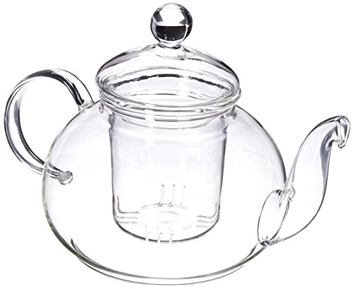 - Happy Sales 28 oz Clear Heat Resistant Borosilicate Glass Teapot & Infuser for loose tea