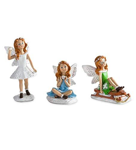 Plow & Hearth Miniature Fairy Garden Winter Fairies, Set of 3 - Each Approx. 2-4 -