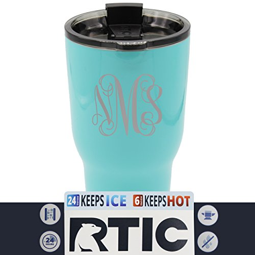 Monogrammed Tumbler - Custom RTIC 30 oz Tumbler Cup - Personalized and Monogrammed with Vine Monogram - NOT a Decal - Permanently Engraved (Teal Blue)