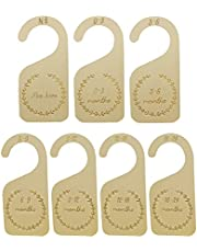 Brimstone 7pcs Wooden Baby Closet Dividers, from New-born to 24 Months, Wood Baby Cloth Organizers Infant Wardrobe Dividers for Baby Boy&Girl Clothes Sorting, Wardrobe decorations