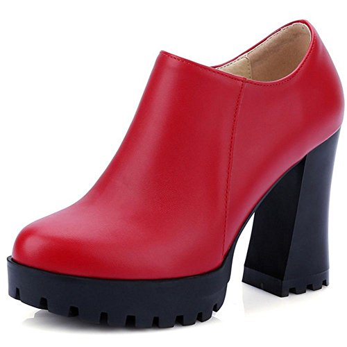Red Block Women Bootie LongFengMa Shoes Heels Pumps Fashion vAxqna