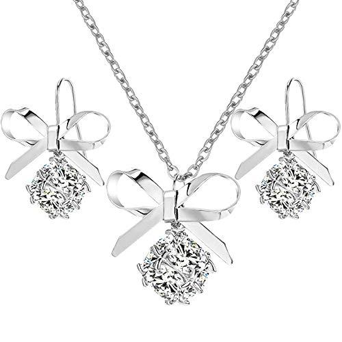 42d188406693f Amazon.com: Women's Fashionable Elegant Sweet Bow Tie Necklace ...