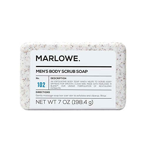 MARLOWE. No. 102 Men's Body Scrub Soap 7 oz | Best Exfoliating Bar for Men | Made with Natural Ingredients | Amazing Sandalwood & Agarwood (Natural Exfoliating Cream)