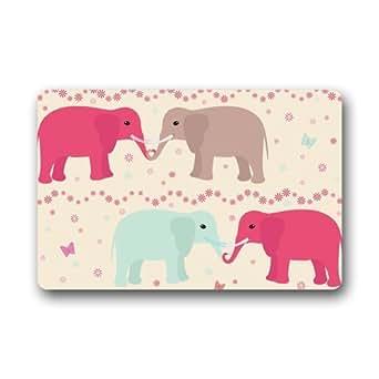 """Custom lavable Felpudo Seamless Patrón con elefantes, flores y corazón decoración de interior/al aire libre alfombra Felpudo 23.6""""(L) X 15,7(W)"""