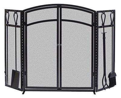 PANACEA PRODUCTS 15138 Fireplace Screen/Tools (Fireplace Tools Mounted)