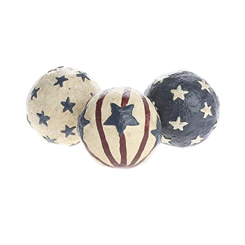 Painted Grapevine (Trio of Americana Painted Paper Clay Balls for Home Decor, and Decorating)