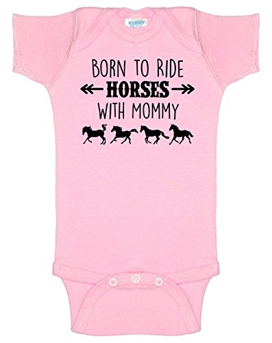 Born to Ride Horses with Mommy, Short Sleeve Horse Bodysuit, Baby Boy or Girl (12 Months, Light Pink)