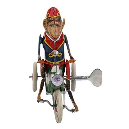 【ノーブランド品】金属製 おもちゃ ねじまき式 ぜんまい仕掛け 車に乗るサル