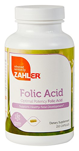 Kosher Folic Acid (Zahler Folic Acid, Optimal Supplement which Protects Against Neural Tube Defects, All Natural FOLIC ACID Formula Know for Helping Prevent Birth Defects, Certified Kosher, 250 Capsules)