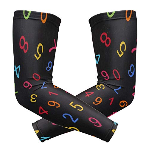 (Arm Sleeves Colored Arabic Numerals Womens Sun UV Protection Sleeves Arm Warmers Cool Long Set Covers)
