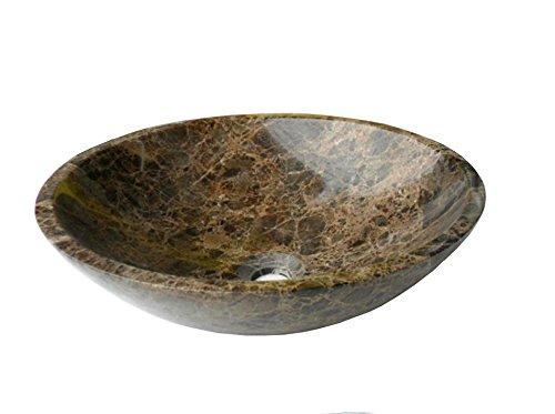 Lavabo de piedra de m/ármol natural de color marr/ón DEB0038 40 cm de di/ámetro y 130 cm de profundidad