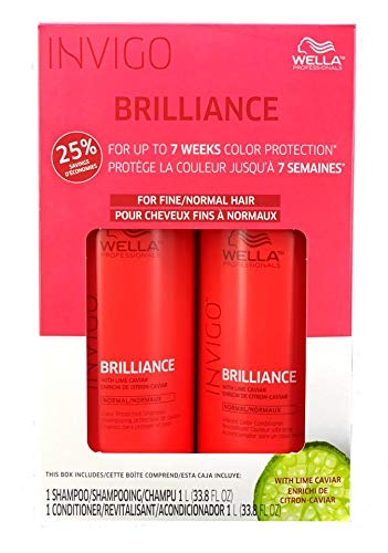 WELLA Brilliance Shampoo & Conditioner Fine to Normal Coloured Hair, Liter Duo 33.8 oz (Best Conditioner For Normal Hair)